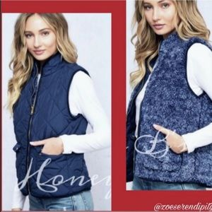 Reversible Quilted/Sherpa Zipper Vest